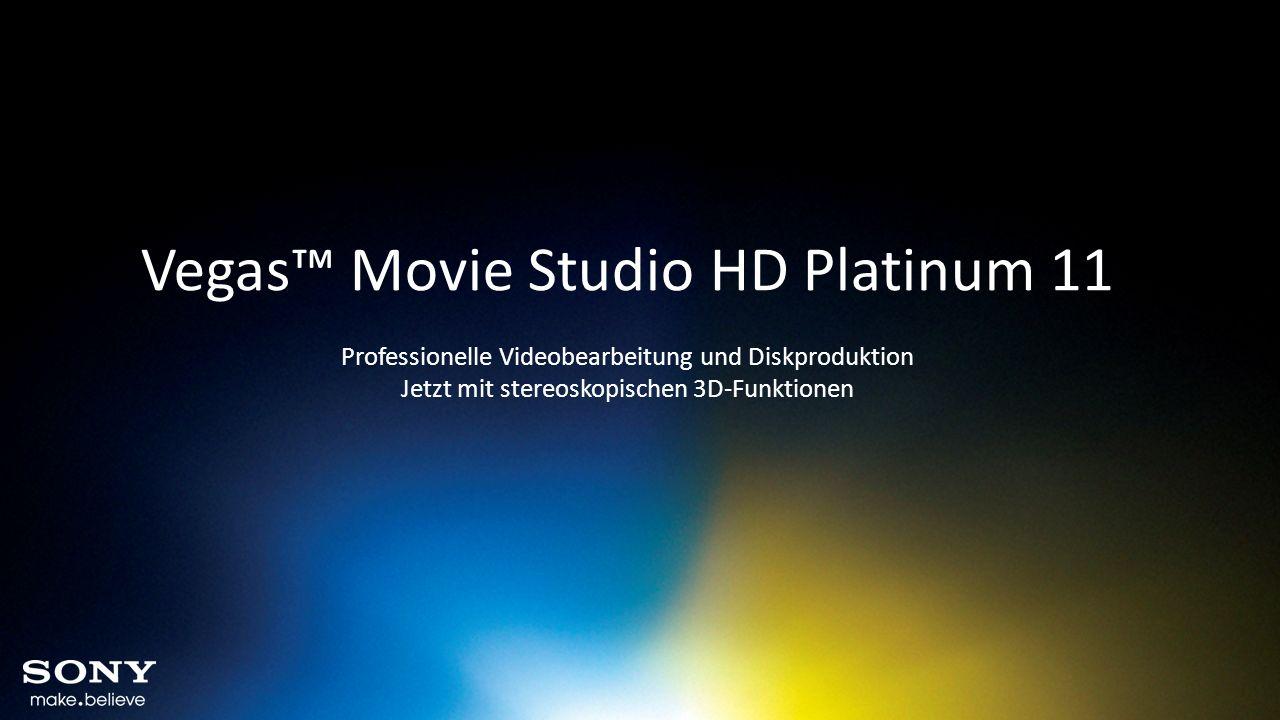 Vegas Movie Studio HD Platinum 11 – Neue Features im Detail Unterstützung für nVIDIA 3D Vision Feature Vegas Movie Studio HD Platinum 11 unterstützt nun NVIDIA 3D Vision und 3D Vision Pro mit der GeForce- oder der Quadra-Grafikkarte.