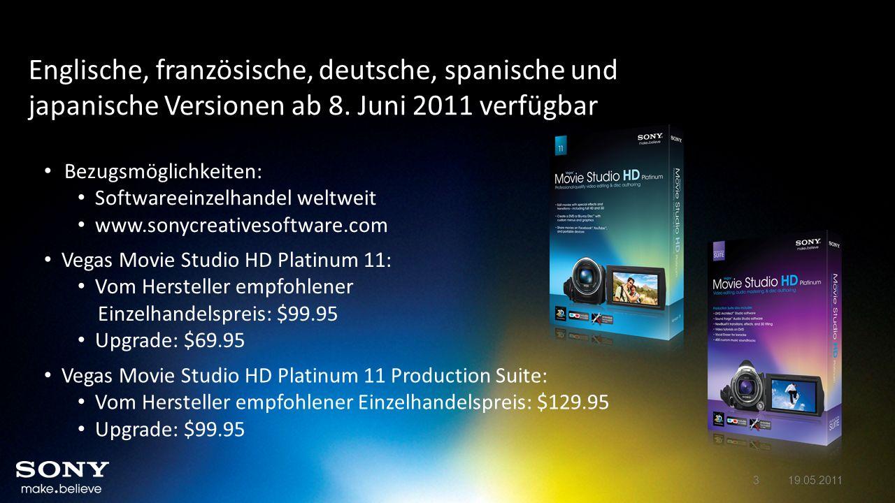 Englische, französische, deutsche, spanische und japanische Versionen ab 8. Juni 2011 verfügbar Vegas Movie Studio HD Platinum 11: Vom Hersteller empf