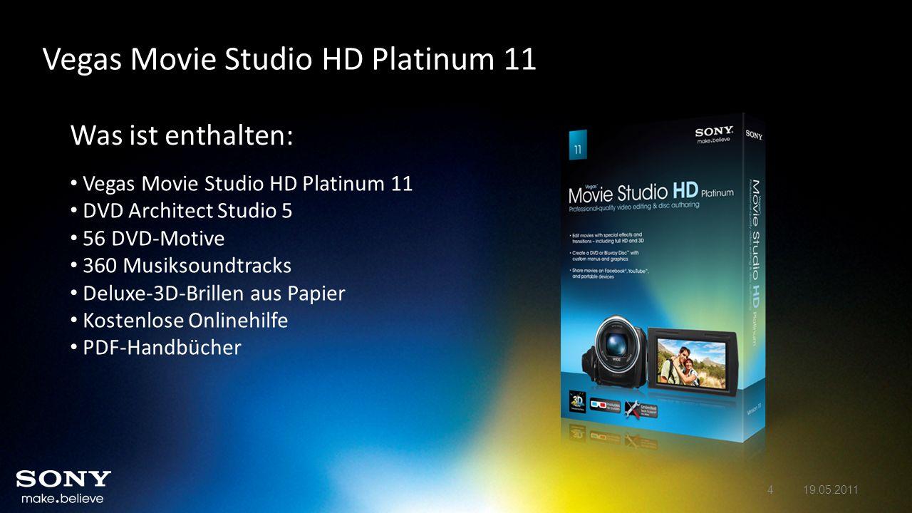 Was ist enthalten: Vegas Movie Studio HD Platinum 11 DVD Architect Studio 5 56 DVD-Motive 360 Musiksoundtracks Deluxe-3D-Brillen aus Papier Kostenlose