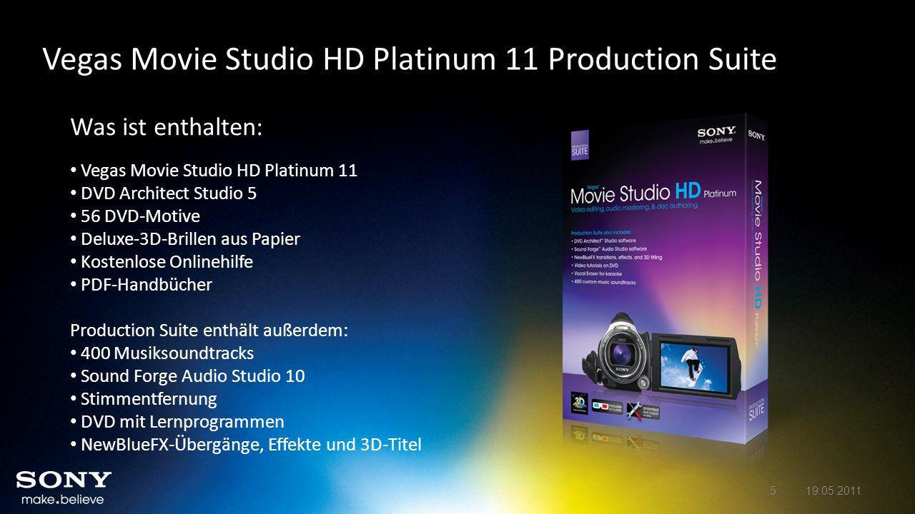 Vegas Movie Studio HD Platinum 11 – Neue Features im Detail Verbesserte QuickTime-AVC-Decodierung – DSLRs Feature Vegas Movie Studio HD Platinum 11 enthält eine verbesserte QuickTime-AVC-Decodierung.