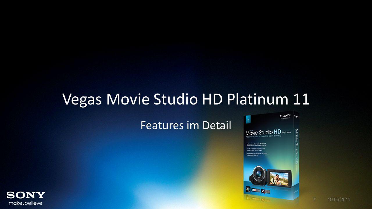 Vegas Movie Studio HD Platinum 11 – Neue Features im Detail Bearbeiten von stereoskopischem 3D Feature Vegas Movie Studio HD Platinum 11 ermöglicht das Importieren, Bearbeiten, Exportieren und Anzeigen von Inhalten in stereoskopischem 3D Unterstützung für das Importieren und Erstellen häufig verwendeter stereoskopischer 3D-Dateiformate und das Anzeigen mittels verbreiteter 3D-Anzeigetypen.