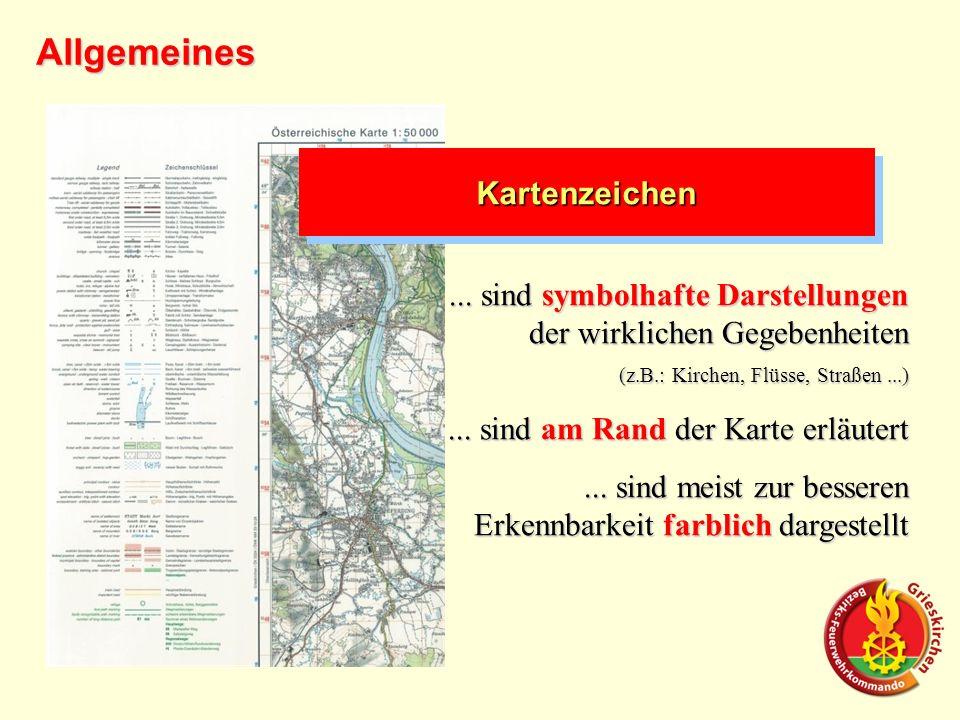 KartenzeichenKartenzeichen... sind symbolhafte Darstellungen der wirklichen Gegebenheiten (z.B.: Kirchen, Flüsse, Straßen...)... sind am Rand der Kart