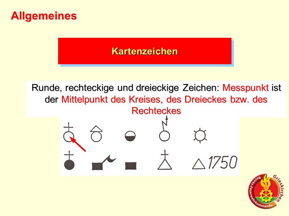Runde, rechteckige und dreieckige Zeichen: Messpunkt ist der Mittelpunkt des Kreises, des Dreieckes bzw. des Rechteckes Allgemeines KartenzeichenKarte