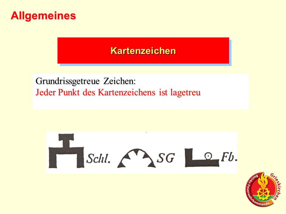 Grundrissgetreue Zeichen: Jeder Punkt des Kartenzeichens ist lagetreu Allgemeines KartenzeichenKartenzeichen