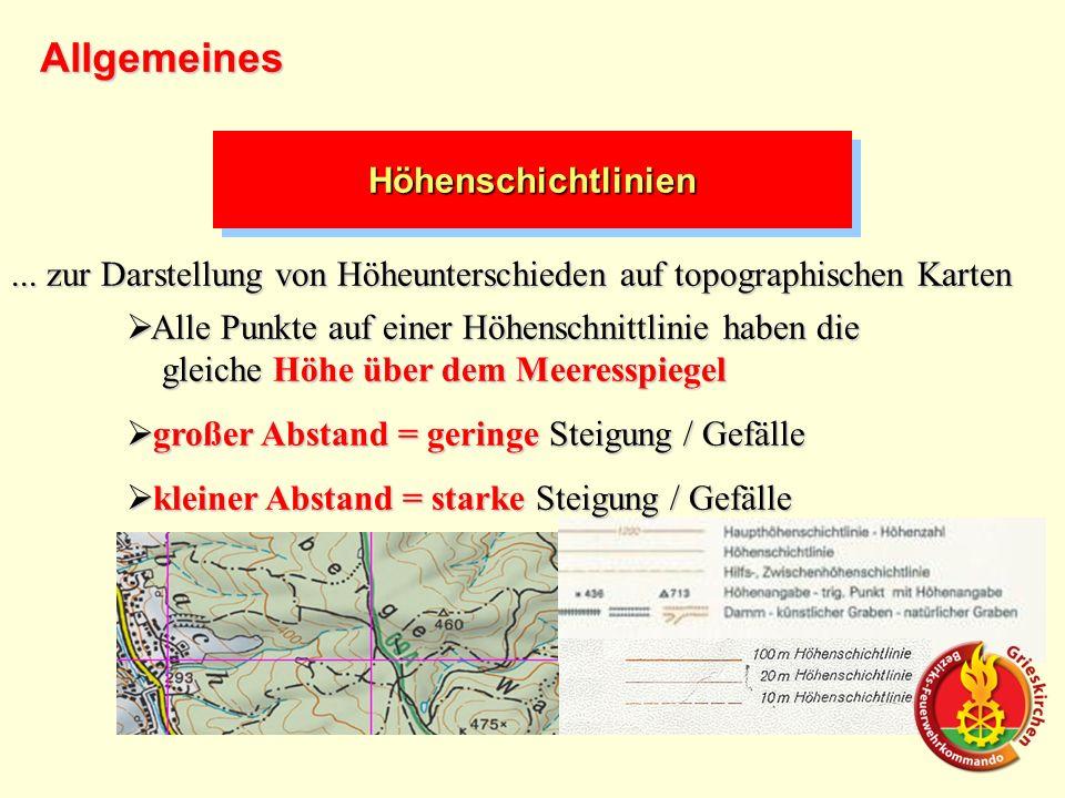 HöhenschichtlinienHöhenschichtlinien... zur Darstellung von Höheunterschieden auf topographischen Karten Alle Punkte auf einer Höhenschnittlinie haben