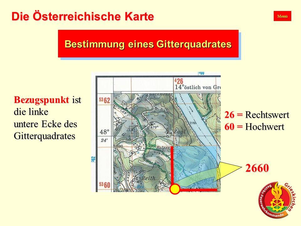 Bestimmung eines Gitterquadrates 2660 Menü Die Österreichische Karte Bezugspunkt ist die linke untere Ecke des Gitterquadrates 26 = Rechtswert 60 = Hochwert