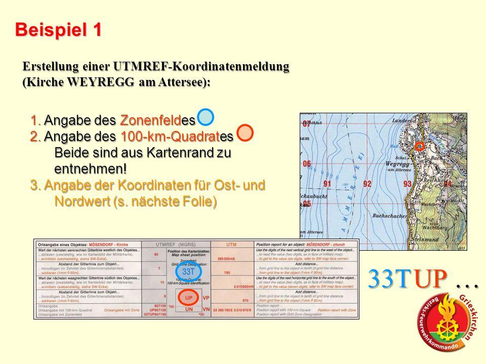 Beispiel 1 Erstellung einer UTMREF-Koordinatenmeldung (Kirche WEYREGG am Attersee): 1. Angabe des Zonenfeldes 2. Angabe des 100-km-Quadrates Beide sin
