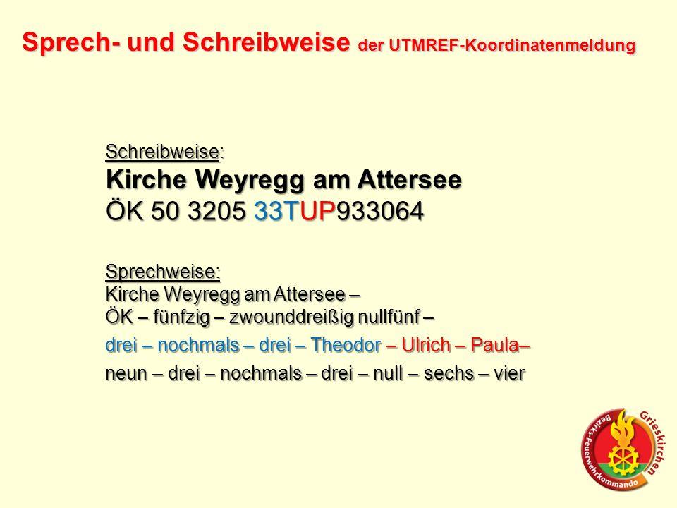 Sprech- und Schreibweise der UTMREF-Koordinatenmeldung Schreibweise: Kirche Weyregg am Attersee ÖK 50 3205 33TUP933064 Sprechweise: Kirche Weyregg am