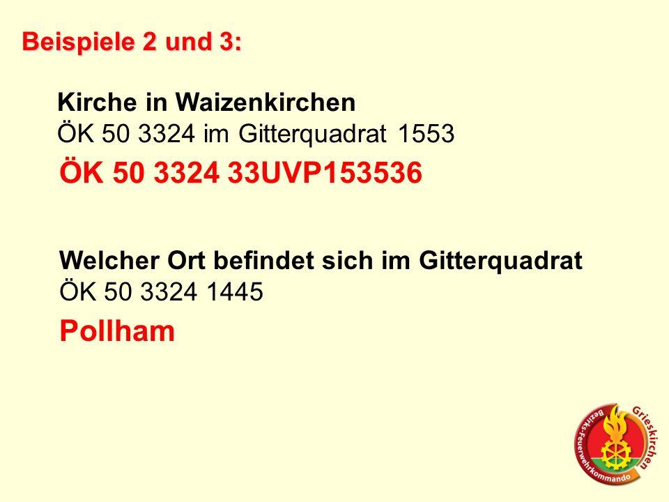 Beispiele 2 und 3: Kirche in Waizenkirchen ÖK 50 3324 im Gitterquadrat 1553 ÖK 50 3324 33UVP153536 Welcher Ort befindet sich im Gitterquadrat ÖK 50 3324 1445 Pollham