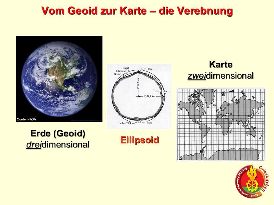 Erde (Geoid) dreidimensional Karte zweidimensional Ellipsoid Quelle: NASA. Vom Geoid zur Karte – die Verebnung