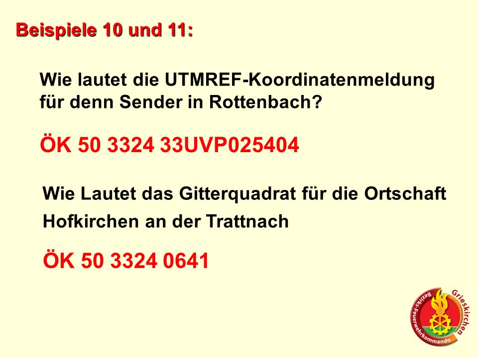 Beispiele 10 und 11: Wie lautet die UTMREF-Koordinatenmeldung für denn Sender in Rottenbach? ÖK 50 3324 33UVP025404 Wie Lautet das Gitterquadrat für d