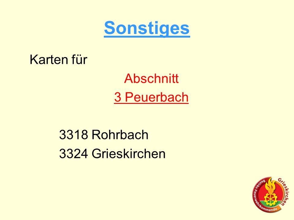 Sonstiges Karten für Abschnitt 3 Peuerbach 3318 Rohrbach 3324 Grieskirchen