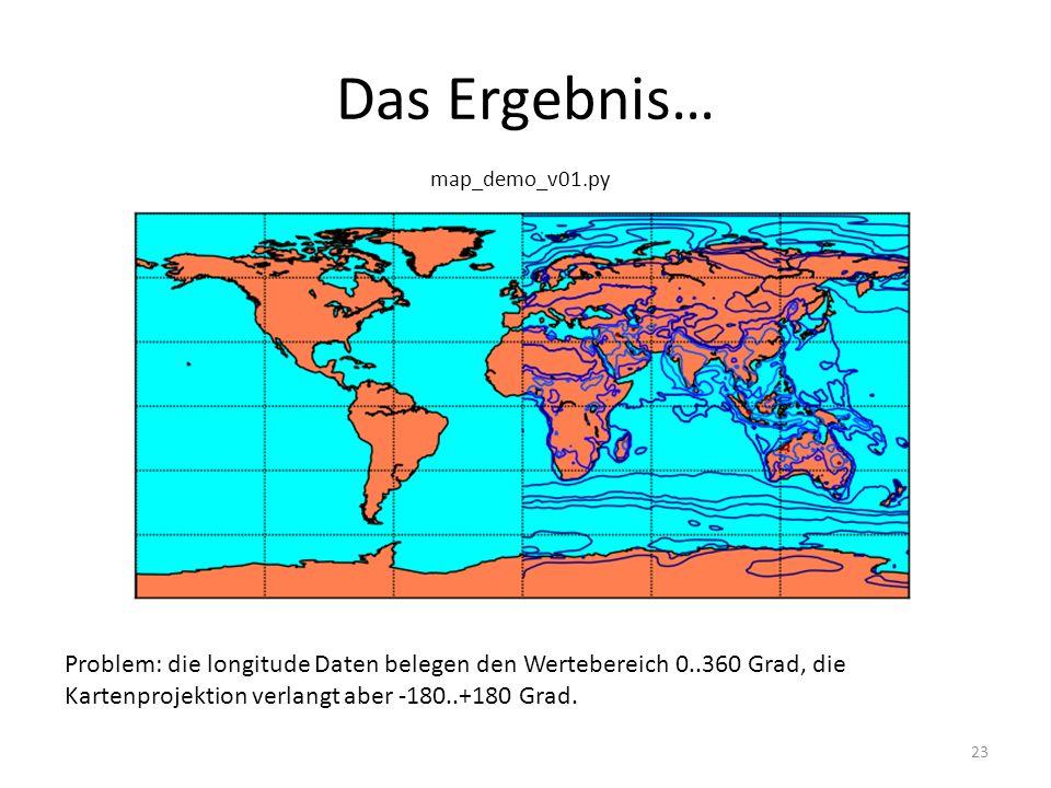 Das Ergebnis… 23 Problem: die longitude Daten belegen den Wertebereich 0..360 Grad, die Kartenprojektion verlangt aber -180..+180 Grad.