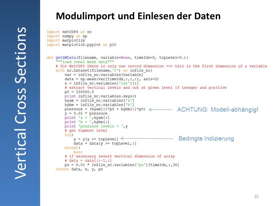 35 Vertical Cross Sections Modulimport und Einlesen der Daten ACHTUNG: Modell-abhängig! Bedingte Indizierung