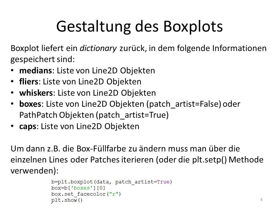 Gestaltung des Boxplots 4 Boxplot liefert ein dictionary zurück, in dem folgende Informationen gespeichert sind: medians: Liste von Line2D Objekten fliers: Liste von Line2D Objekten whiskers: Liste von Line2D Objekten boxes: Liste von Line2D Objekten (patch_artist=False) oder PathPatch Objekten (patch_artist=True) caps: Liste von Line2D Objekten Um dann z.B.