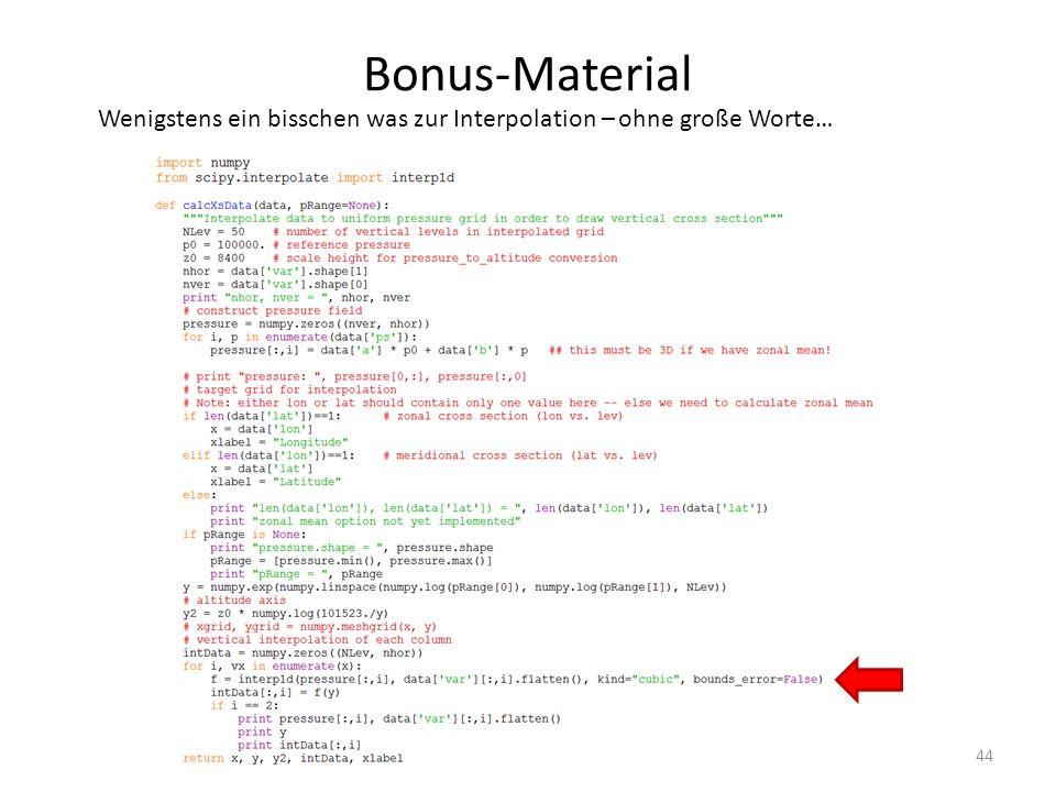 Bonus-Material 44 Wenigstens ein bisschen was zur Interpolation – ohne große Worte…