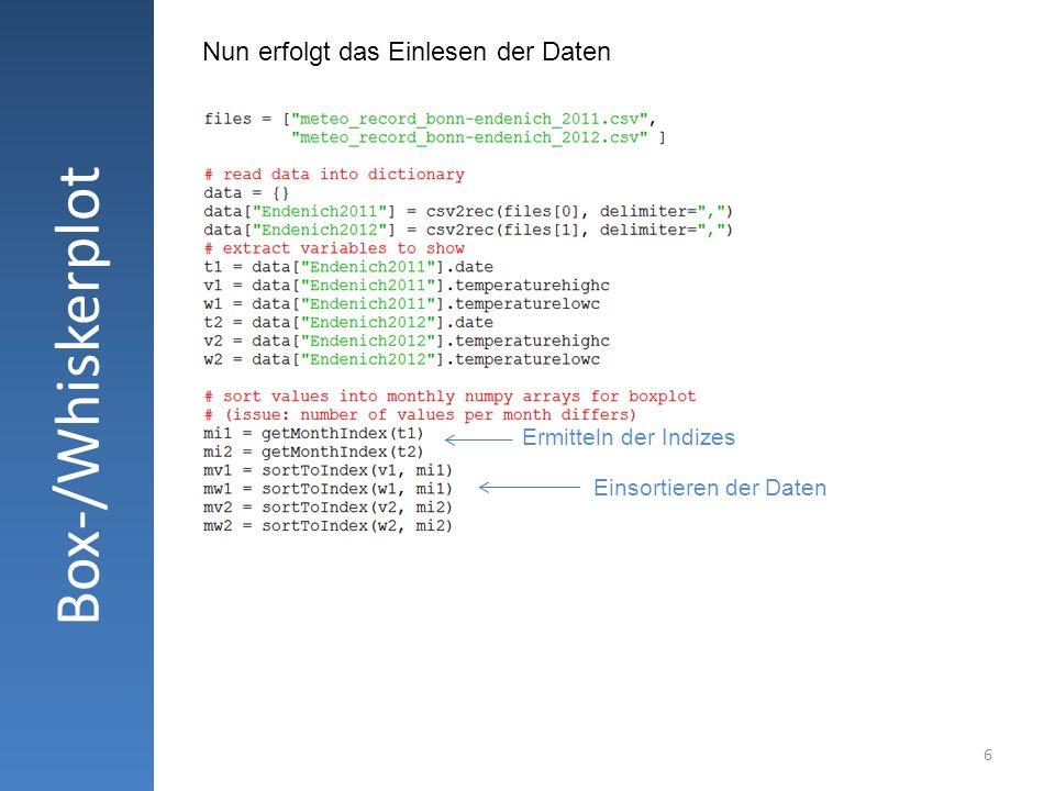 6 Box-/Whiskerplot Nun erfolgt das Einlesen der Daten Ermitteln der Indizes Einsortieren der Daten