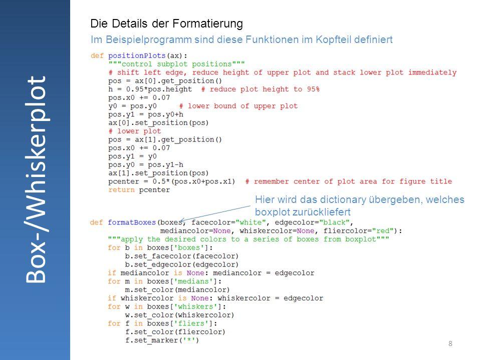 8 Box-/Whiskerplot Die Details der Formatierung Hier wird das dictionary übergeben, welches boxplot zurückliefert Im Beispielprogramm sind diese Funkt