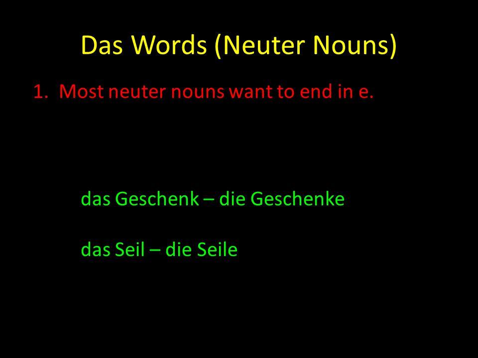 Das Words (Neuter Nouns) 2.If a neuter noun ends in el, er or en, then there is often no change.