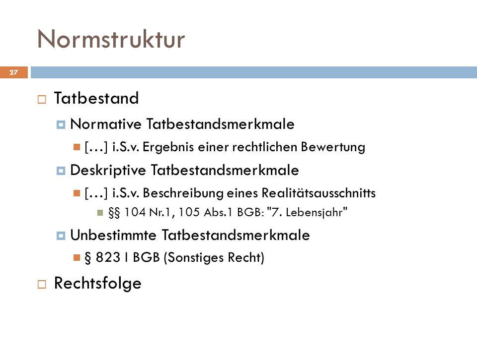 Normstruktur 27 Tatbestand Normative Tatbestandsmerkmale […] i.S.v.