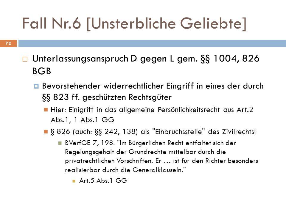 Fall Nr.6 [Unsterbliche Geliebte] 72 Unterlassungsanspruch D gegen L gem.