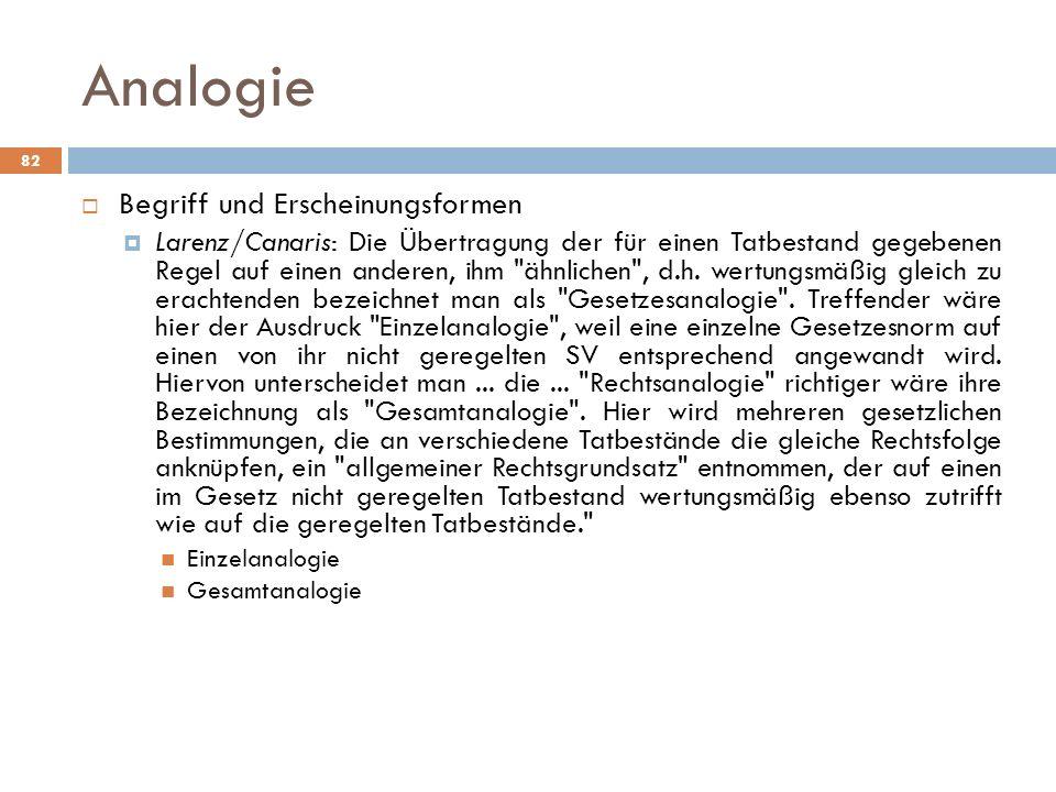 Analogie 82 Begriff und Erscheinungsformen Larenz/Canaris: Die Übertragung der für einen Tatbestand gegebenen Regel auf einen anderen, ihm ähnlichen , d.h.