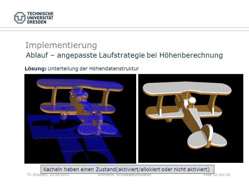 Implementierung TU Dresden, 20.01.2011Animierte SchneeakkumulationFolie 15 von 22 Ablauf – angepasste Laufstrategie bei Höhenberechnung Lösung: Untert