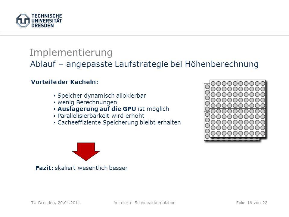 Implementierung TU Dresden, 20.01.2011Animierte SchneeakkumulationFolie 16 von 22 Ablauf – angepasste Laufstrategie bei Höhenberechnung Vorteile der K