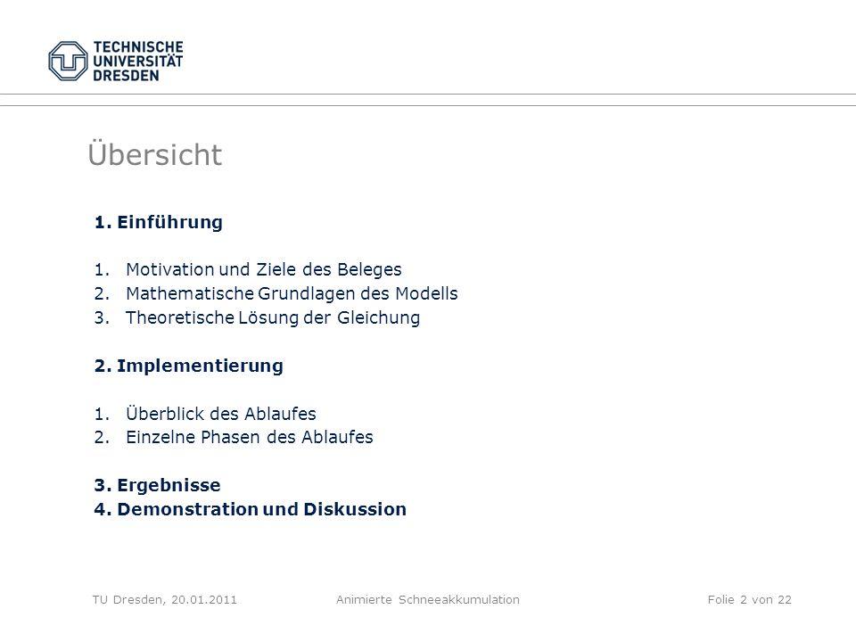 Übersicht TU Dresden, 20.01.2011Animierte SchneeakkumulationFolie 2 von 22 1. Einführung 1.Motivation und Ziele des Beleges 2.Mathematische Grundlagen