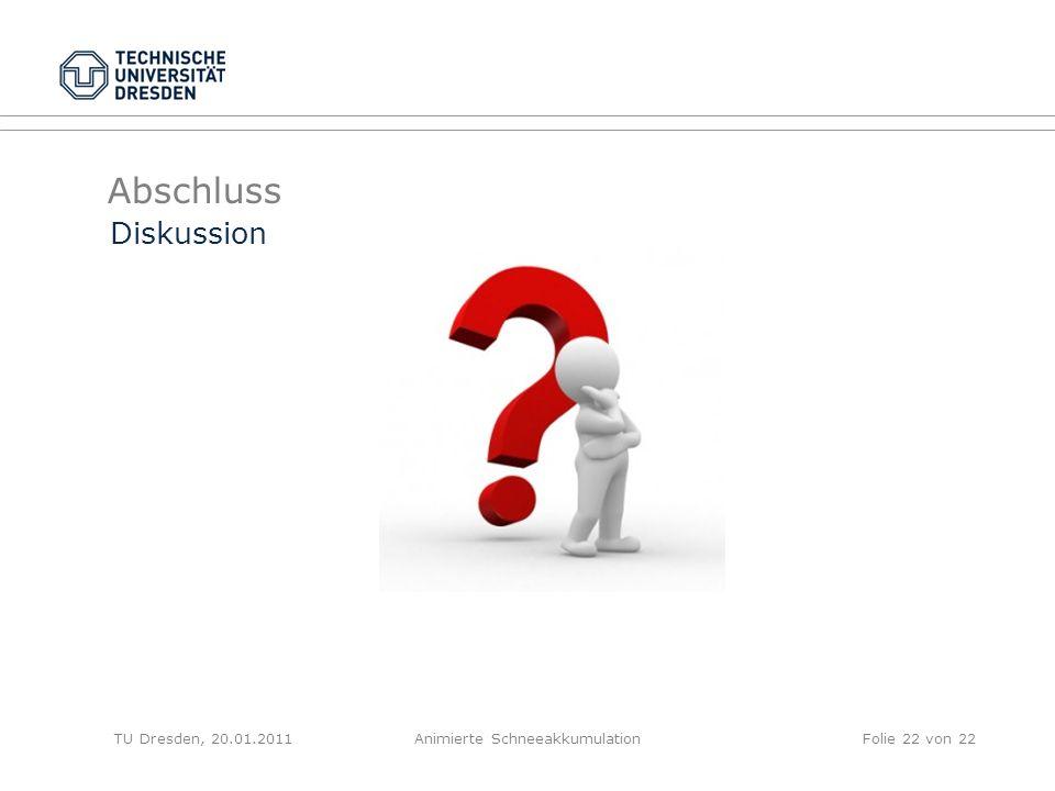 Abschluss TU Dresden, 20.01.2011Animierte SchneeakkumulationFolie 22 von 22 Diskussion