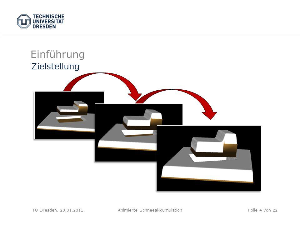 Einführung TU Dresden, 20.01.2011Animierte SchneeakkumulationFolie 4 von 22 Zielstellung
