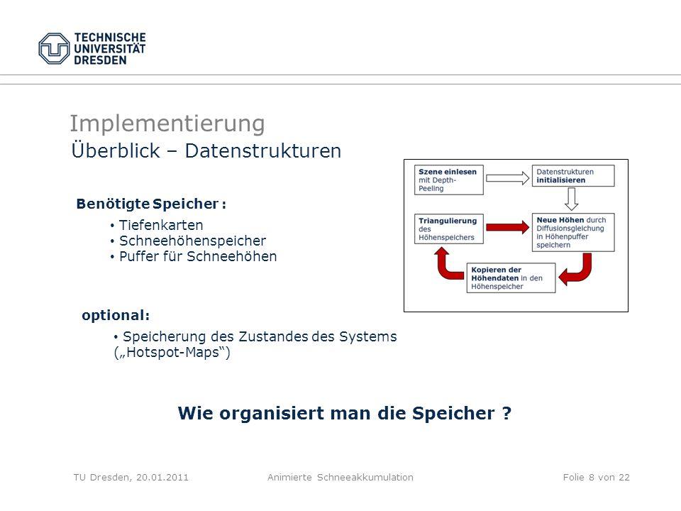 Implementierung TU Dresden, 20.01.2011Animierte SchneeakkumulationFolie 8 von 22 Überblick – Datenstrukturen Benötigte Speicher : optional: Speicherun