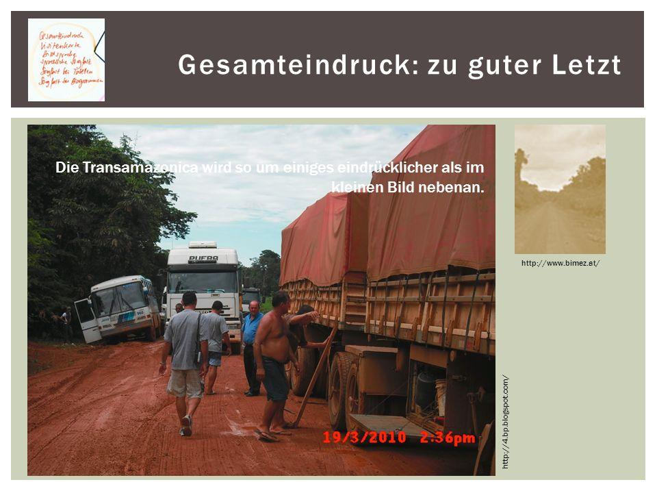 Gesamteindruck: zu guter Letzt http://www.bimez.at/ http://4.bp.blogspot.com/ Die Transamazonica wird so um einiges eindrücklicher als im kleinen Bild nebenan.