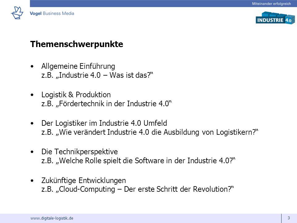 www.digitale-logistik.de 3 Themenschwerpunkte Allgemeine Einführung z.B. Industrie 4.0 – Was ist das? Logistik & Produktion z.B. Fördertechnik in der