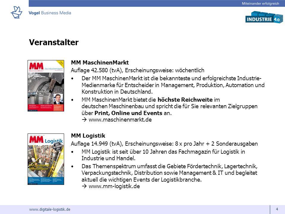 www.digitale-logistik.de 4 Veranstalter MM MaschinenMarkt Auflage 42.580 (tvA), Erscheinungsweise: wöchentlich Der MM MaschinenMarkt ist die bekanntes