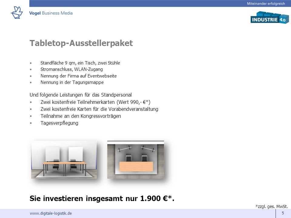 www.digitale-logistik.de 5 Tabletop-Ausstellerpaket Standfläche 9 qm, ein Tisch, zwei Stühle Stromanschluss, WLAN-Zugang Nennung der Firma auf Eventwe