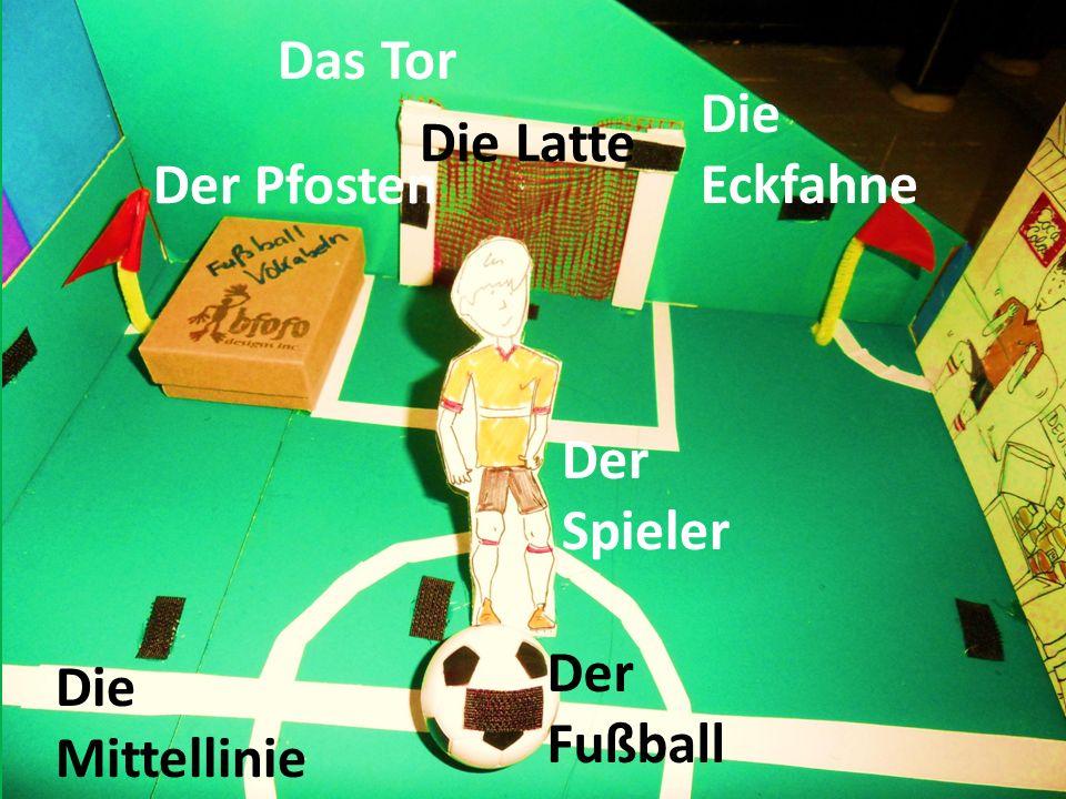 Der Spieler Der Fußball Die Eckfahne Das Tor Der Pfosten Die Latte Die Mittellinie