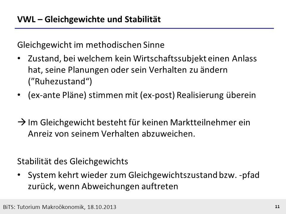 KOOTHS | BiTS: Makroökonomik WS 2013/2014, Fassung 1 11 VWL – Gleichgewichte und Stabilität Gleichgewicht im methodischen Sinne Zustand, bei welchem k