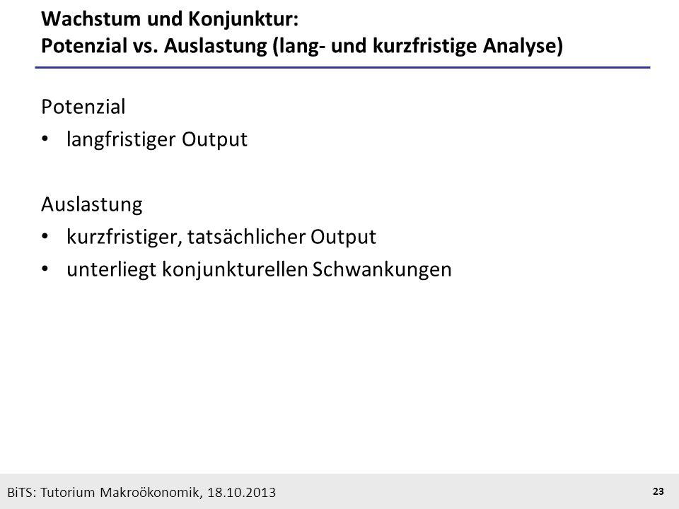 KOOTHS | BiTS: Makroökonomik WS 2013/2014, Fassung 1 23 Wachstum und Konjunktur: Potenzial vs. Auslastung (lang- und kurzfristige Analyse) Potenzial l
