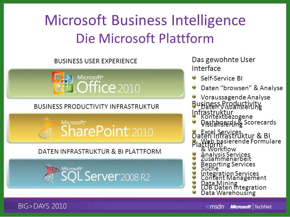 BUSINESS PRODUCTIVITY INFRASTRUKTUR DATEN INFRASTRUKTUR & BI PLATTFORM BUSINESS USER EXPERIENCE Daten Infrastruktur & BI Plattform Analysis Services R