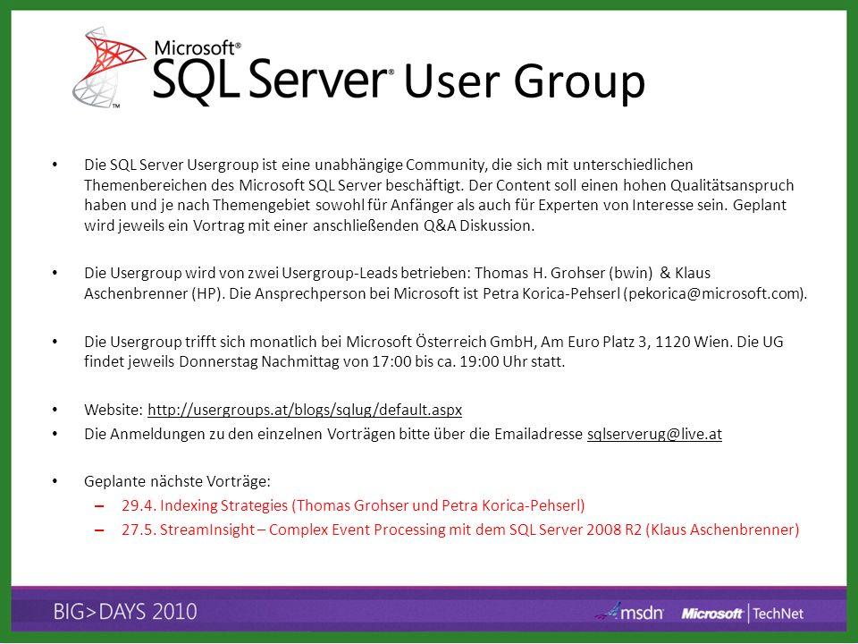 Die SQL Server Usergroup ist eine unabhängige Community, die sich mit unterschiedlichen Themenbereichen des Microsoft SQL Server beschäftigt. Der Cont