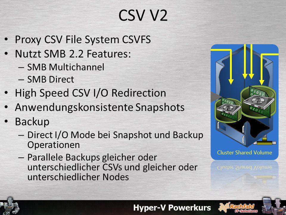 CSV V2 Proxy CSV File System CSVFS Nutzt SMB 2.2 Features: – SMB Multichannel – SMB Direct High Speed CSV I/O Redirection Anwendungskonsistente Snapshots Backup – Direct I/O Mode bei Snapshot und Backup Operationen – Parallele Backups gleicher oder unterschiedlicher CSVs und gleicher oder unterschiedlicher Nodes