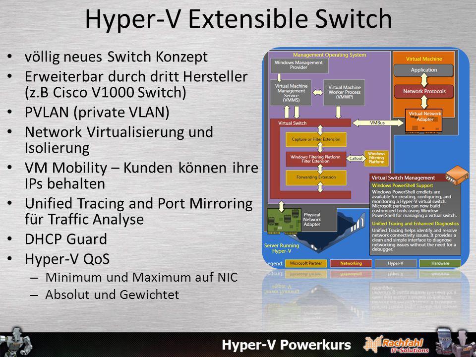 Hyper-V Extensible Switch völlig neues Switch Konzept Erweiterbar durch dritt Hersteller (z.B Cisco V1000 Switch) PVLAN (private VLAN) Network Virtual
