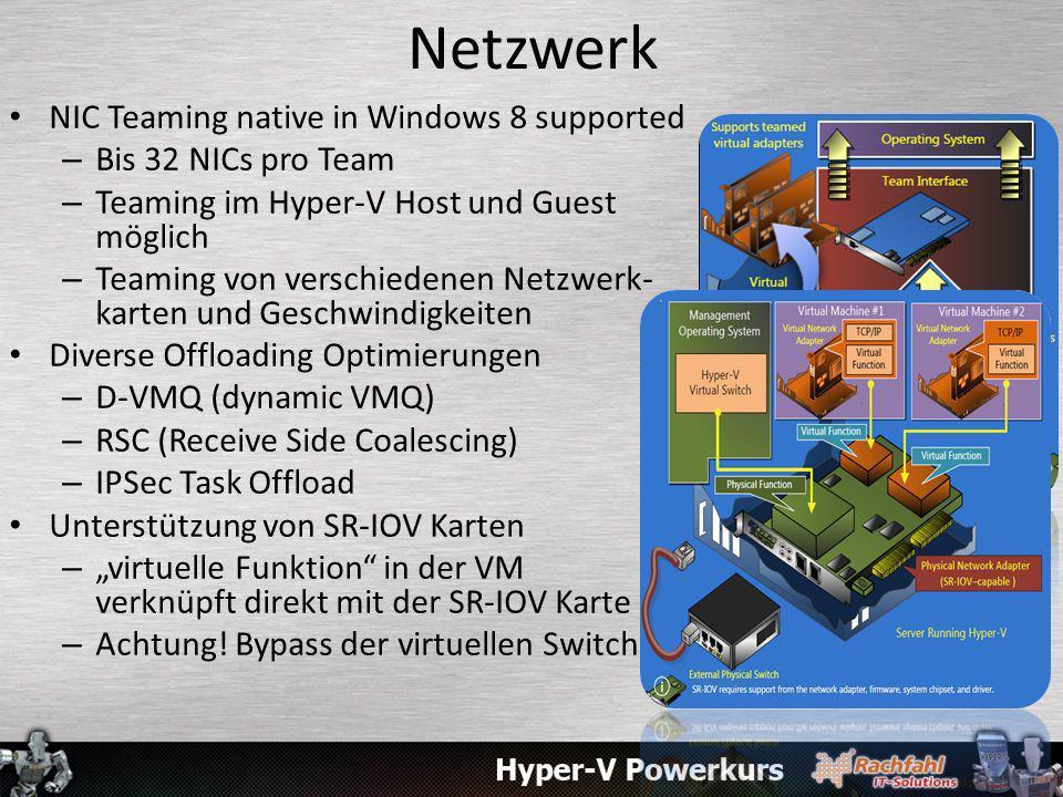 Netzwerk NIC Teaming native in Windows 8 supported – Bis 32 NICs pro Team – Teaming im Hyper-V Host und Guest möglich – Teaming von verschiedenen Netzwerk- karten und Geschwindigkeiten Diverse Offloading Optimierungen – D-VMQ (dynamic VMQ) – RSC (Receive Side Coalescing) – IPSec Task Offload Unterstützung von SR-IOV Karten – virtuelle Funktion in der VM verknüpft direkt mit der SR-IOV Karte – Achtung.