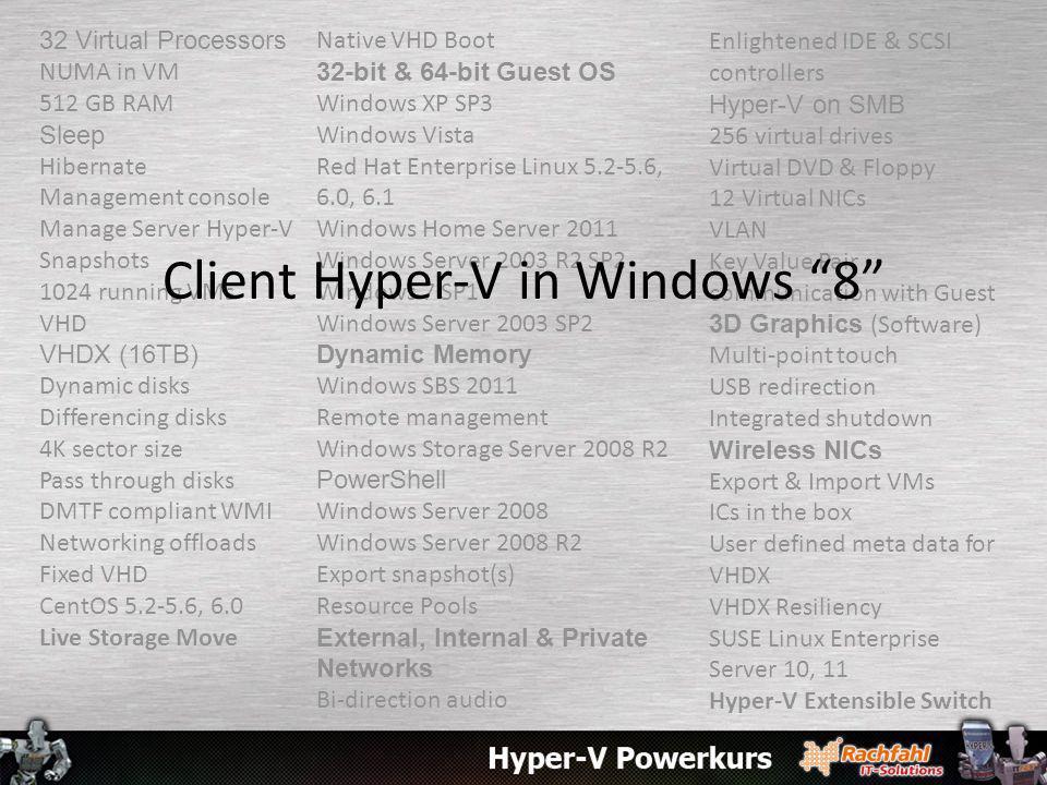 32 Virtual Processors NUMA in VM 512 GB RAM Sleep Hibernate Management console Manage Server Hyper-V Snapshots 1024 running VMs VHD VHDX (16TB) Dynami