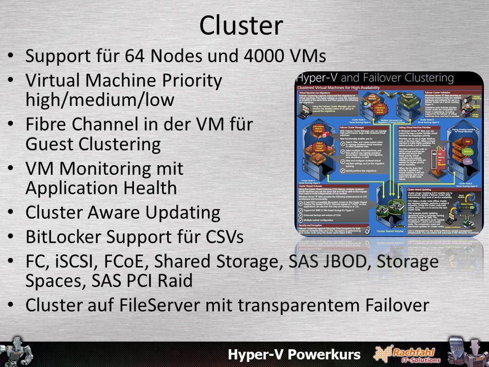 Cluster Support für 64 Nodes und 4000 VMs Virtual Machine Priority high/medium/low Fibre Channel in der VM für Guest Clustering VM Monitoring mit Appl