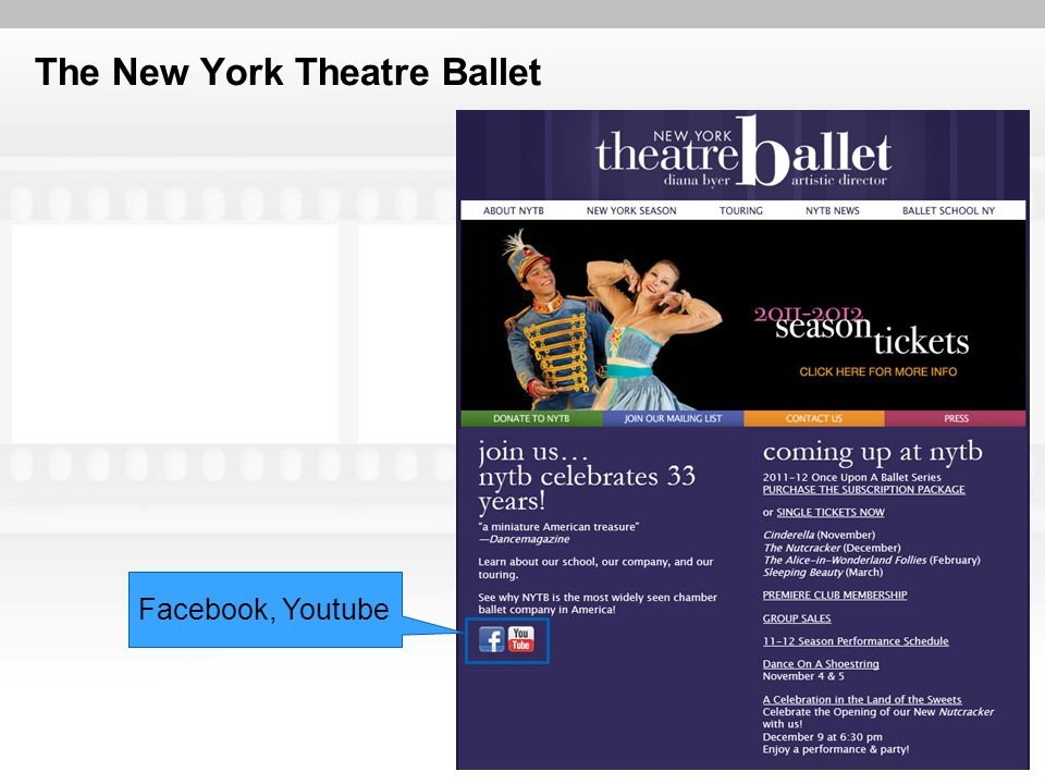 The New York Theatre Ballet Facebook, Youtube