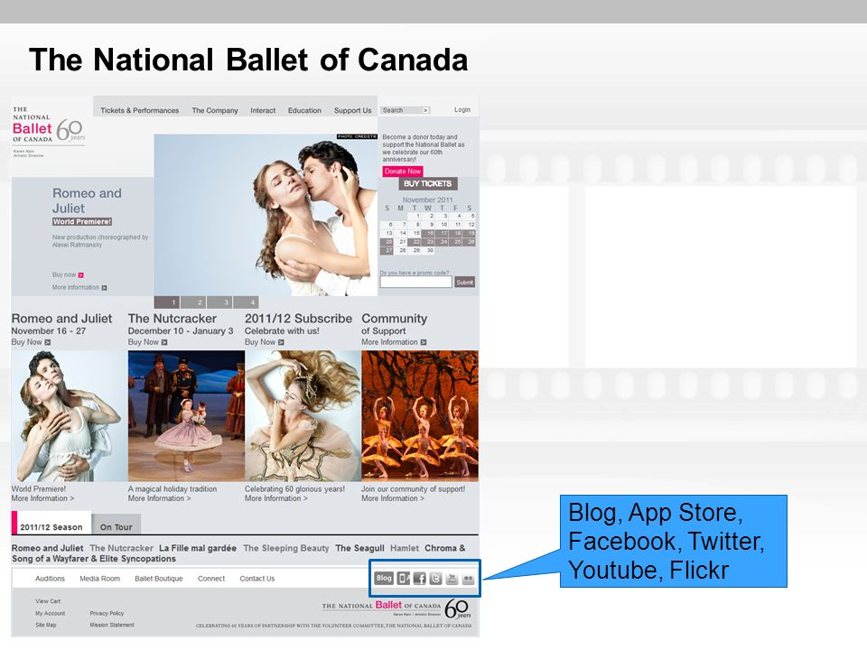 The National Ballet of Canada Blog, App Store, Facebook, Twitter, Youtube, Flickr