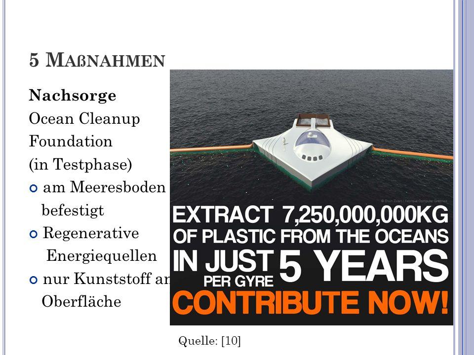 5 M AßNAHMEN Nachsorge Ocean Cleanup Foundation (in Testphase) am Meeresboden befestigt Regenerative Energiequellen nur Kunststoff an Oberfläche Quell