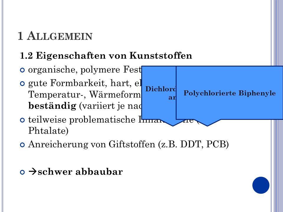 1 A LLGEMEIN 1.2 Eigenschaften von Kunststoffen organische, polymere Festkörper gute Formbarkeit, hart, elastisch, bruchfest, Temperatur-, Wärmeformbe